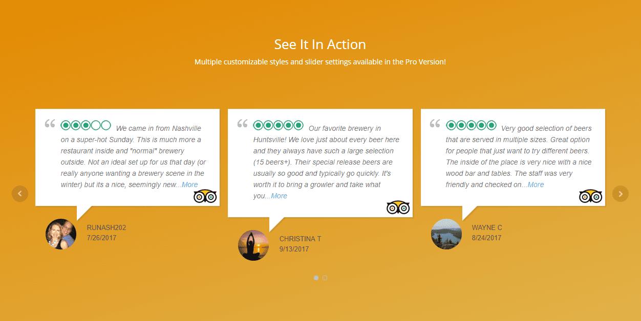 Sito web semplice per ristoranti: non può mancare uno slider che mostri le tue recensioni su tripadvisor.